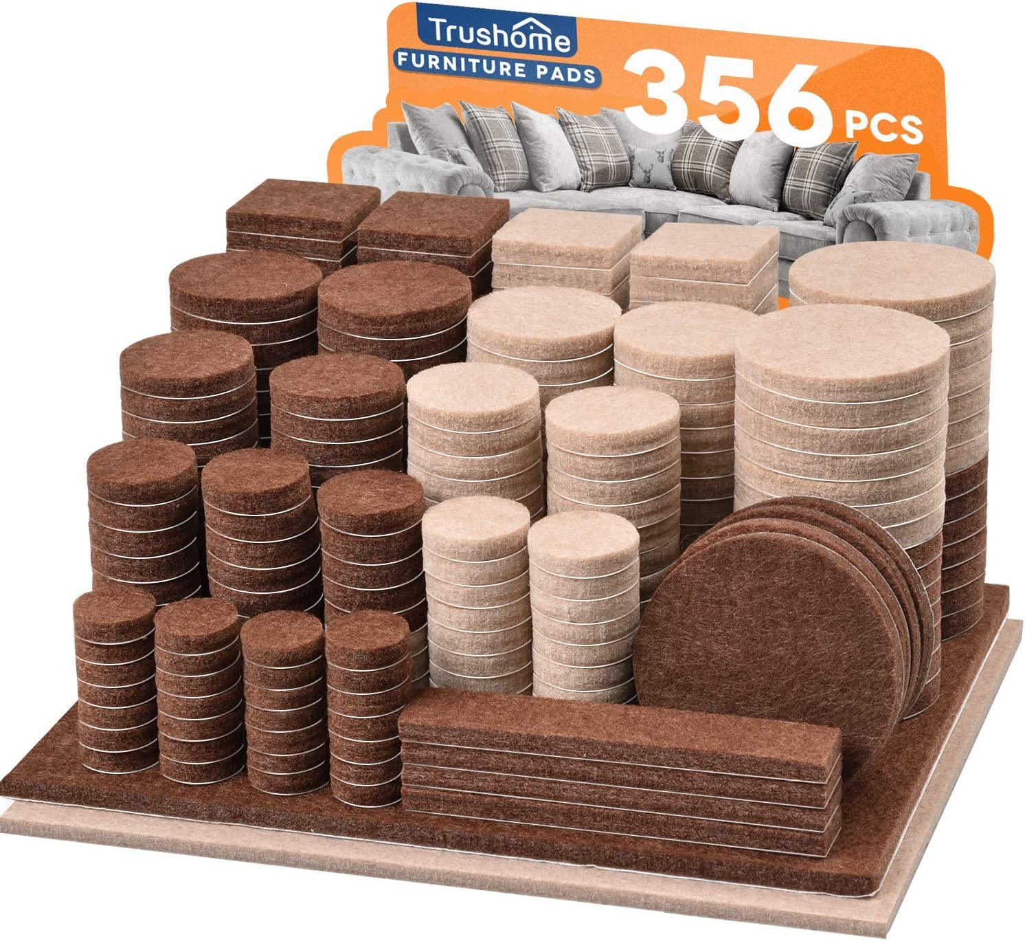 Furniture Pads 356 Max 65% OFF Pcs Limited time cheap sale Two Adhesive Felt Self P Colors