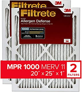 Filtrete 20x25x1, AC Furnace Air Filter, MPR 1000, Micro Allergen Defense, 2-Pack