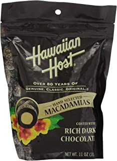 Premium Hawaiian Host Rich Dark Chocolate Macadamia Nuts (LARGE 11 Ounce Resealable Bag) delicious and perfect for holiday gifts