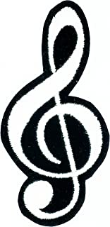 HHO G-Clef Music Note Symbol Patch Embroidered DIY Patches, Cute Applique Sew Iron on Kids Craft Patch for Bags Jackets Je...