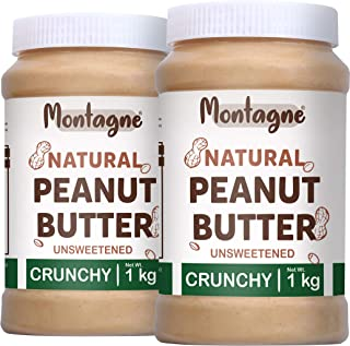 Montagne All Natural Peanut Butter Crunchy 2 KG [Unsweetened] (1 KG Pack of 2)