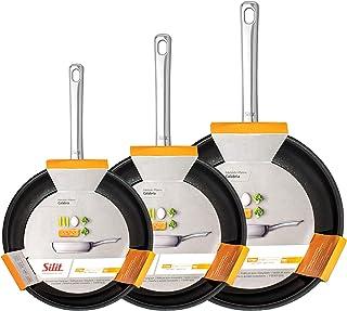 Silit Calabria - Sartén de inducción con revestimiento de acero inoxidable, mango de acero inoxidable, sin PFOA, acero inoxidable, 20/24/28cm