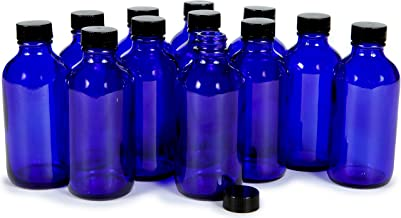 Vivaplex, 12, Cobalt Blue, 4 oz Glass Bottles, with Lids
