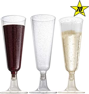 70pc Gold Glitter Plastic Classicware Glass Like Champagne Wedding Parties Toasting Flutes Party Cocktail Cups
