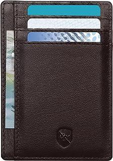 ALLEN & MATE Leather Card Holder Slim Wallet for Men, RFID Blocking Minimalist Wallet Credit Card Holder, Holds up to 10 C...