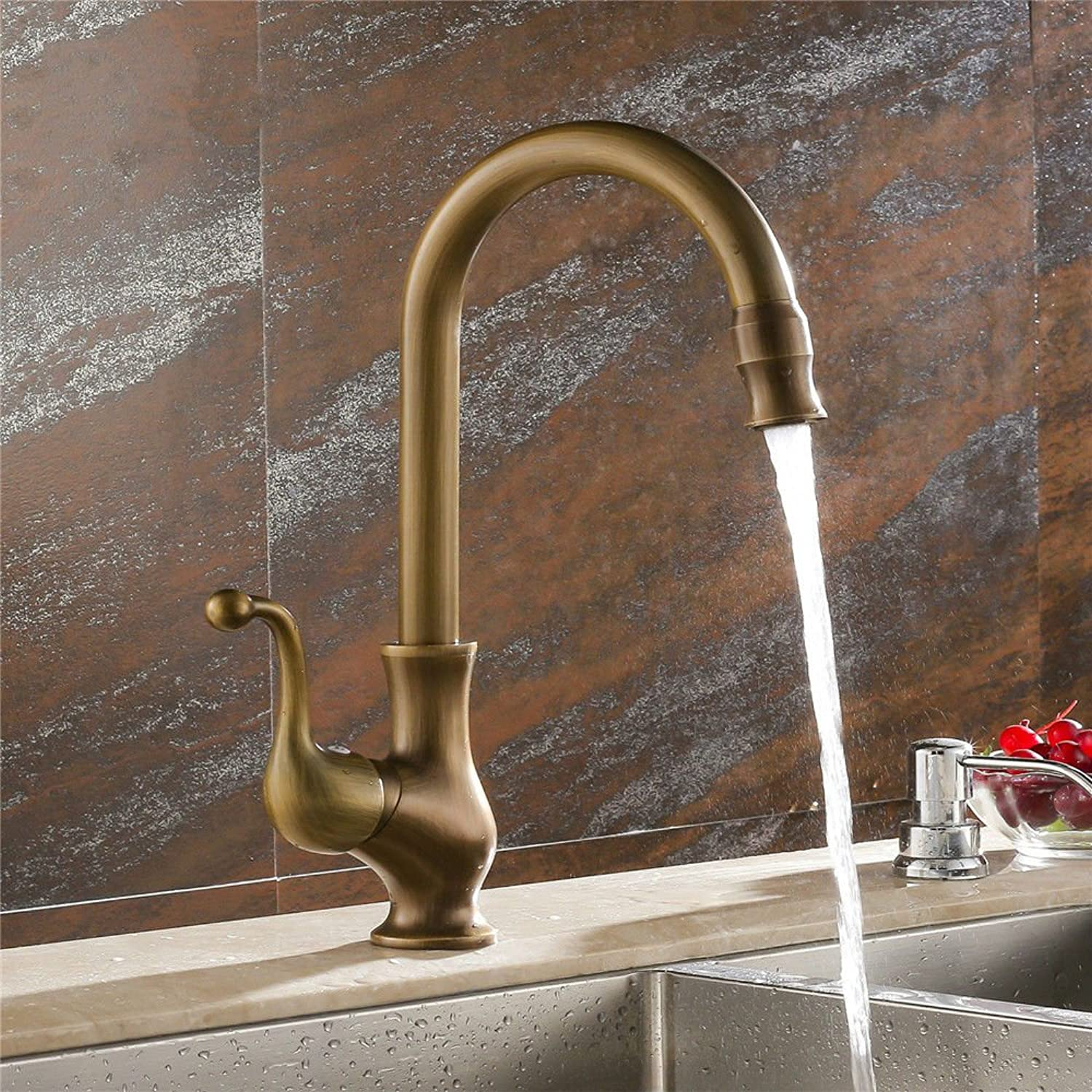 Commercial Single Lever Pull Down Kitchen Sink Faucet Brass Constructed Polished European Style Copper Antique Bathroom Kitchen Faucet Hot and Cold Sink Faucet redatable Sink Faucet