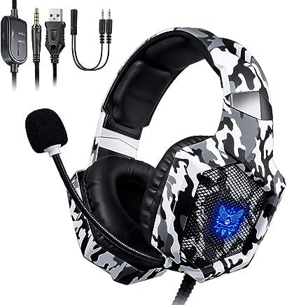 ONIKUMA Auriculares Gaming, Cascos Gaming, Auriculares de Juego con Micrófono y RGB LED Compatible con PS4,Nuevo Xbox One, Nintendo Switch, Movil, PC Ordenador, Enchufe de 3.5 mm - Camuflaje
