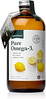 Natural Force Pure Omega-3 Liquid Fish Oil, Lemon Flavored in Glass Bottle, 16oz | 1,370 mg Omega-3's per Serving with EPA, DHA, and DPA | Mercury Free from Wild Caught Small Fish, Keto Certified