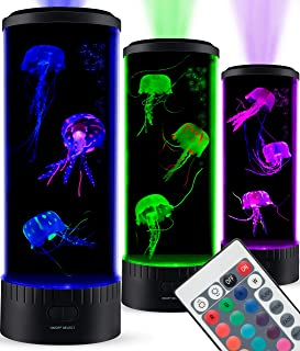 SensoryMoon Large LED Jellyfish Lava Lamp Aquarium - Electric Round Jellyfish Tank Mood Light with 3 Fake Glowing Jelly Fish, 20 Color Changing Remote, Ocean Wave Projector - Plug in Kids Night Light