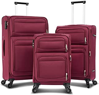 Merax Softside Luggage Set, TSA Lock Expandable Spinner Wheel Luggage, 3 Piece Set Suitcase