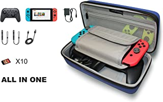 Nintendo Switch Hard Shell Travel Case - Come with Adjustable Shoulder Strap - Fits AC Charger and Pro-Controller. with Built-in Game Card Storage (Navy Blue)