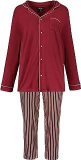 ULLA POPKEN Pyjama, Zweiteiler, Uni Oberteil, Streifen-Hose Set di Pigiama Donna