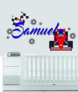 Custom Name Transportation Theme - F1 Racecar - Baby Boy / Girl - Wall Decal Nursery For Home Bedroom Children (559) (Wide 22