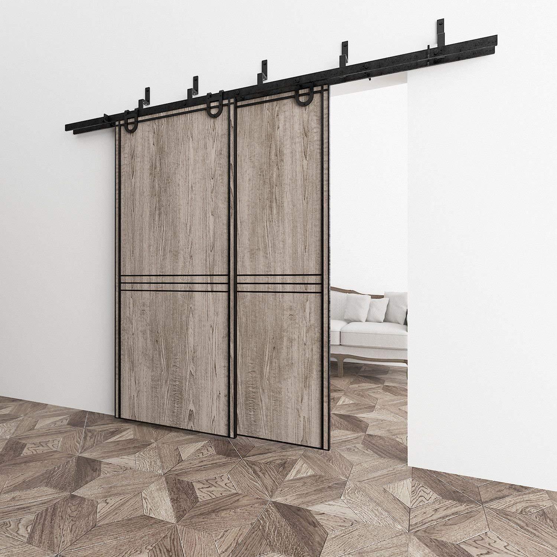 Bypass - Sistema de suspensión de puerta corredera de doble puerta, diseño clásico, ideal para puertas de armario, puertas interiores y exteriores: Amazon.es: Bricolaje y herramientas
