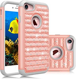 Elegant Choise Compatible with iPhone 8 Case, iPhone 7 Case, Hybrid Dual Layer Armor Studded Rhinestone Bling Diamond Defender Protective Case Cover (Rose Gold)