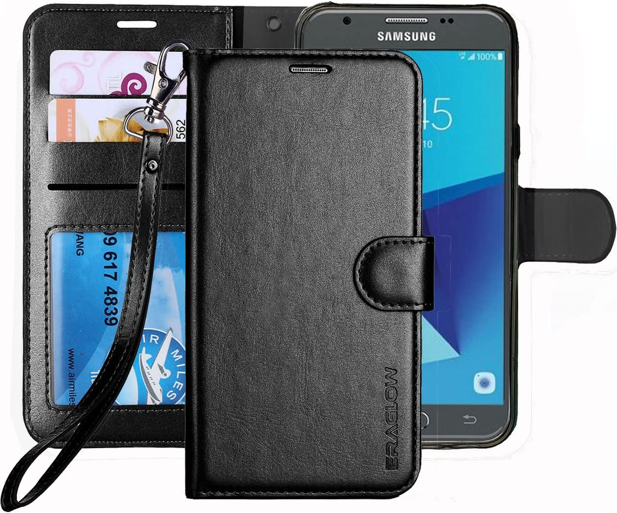 Galaxy J7 V / J7 Perx / J7 Sky Pro / J7 Prime / J7 2017 / Galaxy Halo Case, ERAGLOW Luxury PU Leather Wallet Flip Protective Case Cover with Card Slots and Stand for Samsung Galaxy J7 2017 (Black)