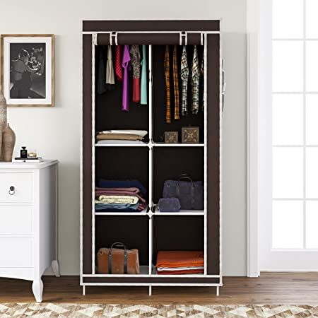Whitecloud® 3+3 Layer Collapsible Wardrobe for Clothes with Side Pocket 7800-3 (84CM x 42.5CM x 166CM, Brown)