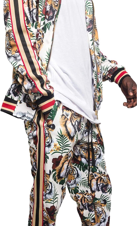 G-Style USA Mens Side Stripe Zipper Jacket Drawstring Waistband Tracksuit
