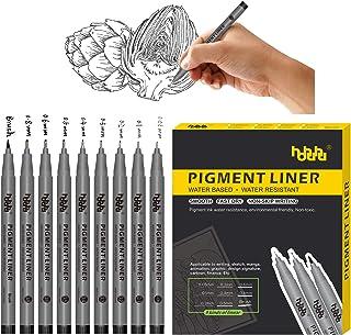 Black Pigment Fine liner Ink Micro-Line Pens, Illustration Pens, Set of 9 Various Size Tip, Waterproof, for Art Watercolor...