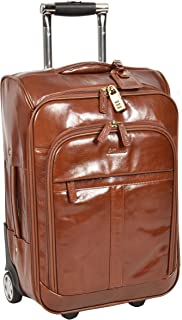 Leather Cabin Luggage Travel Wheels Telescopic Handles Bag Tokyo Chestnut Tan