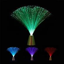 Relaxdays Glasvezellamp, vloeiende kleurverandering, LED retrolamp, sfeerlicht, effectlamp glasvezel, 33 cm, kleurrijk