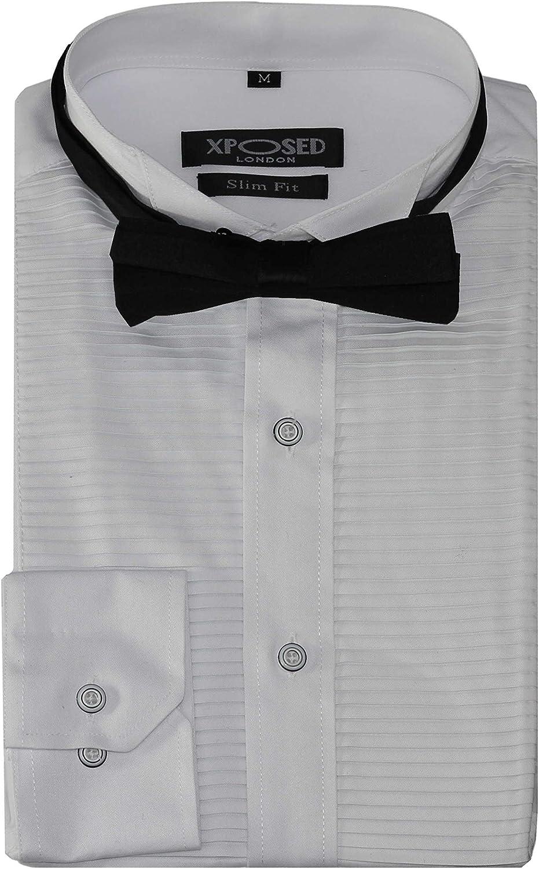 Xposed Vestido de noche formal para hombre, diseño de esmoquin con lazo, ajustado, plisado, para boda, graduación, color negro y blanco