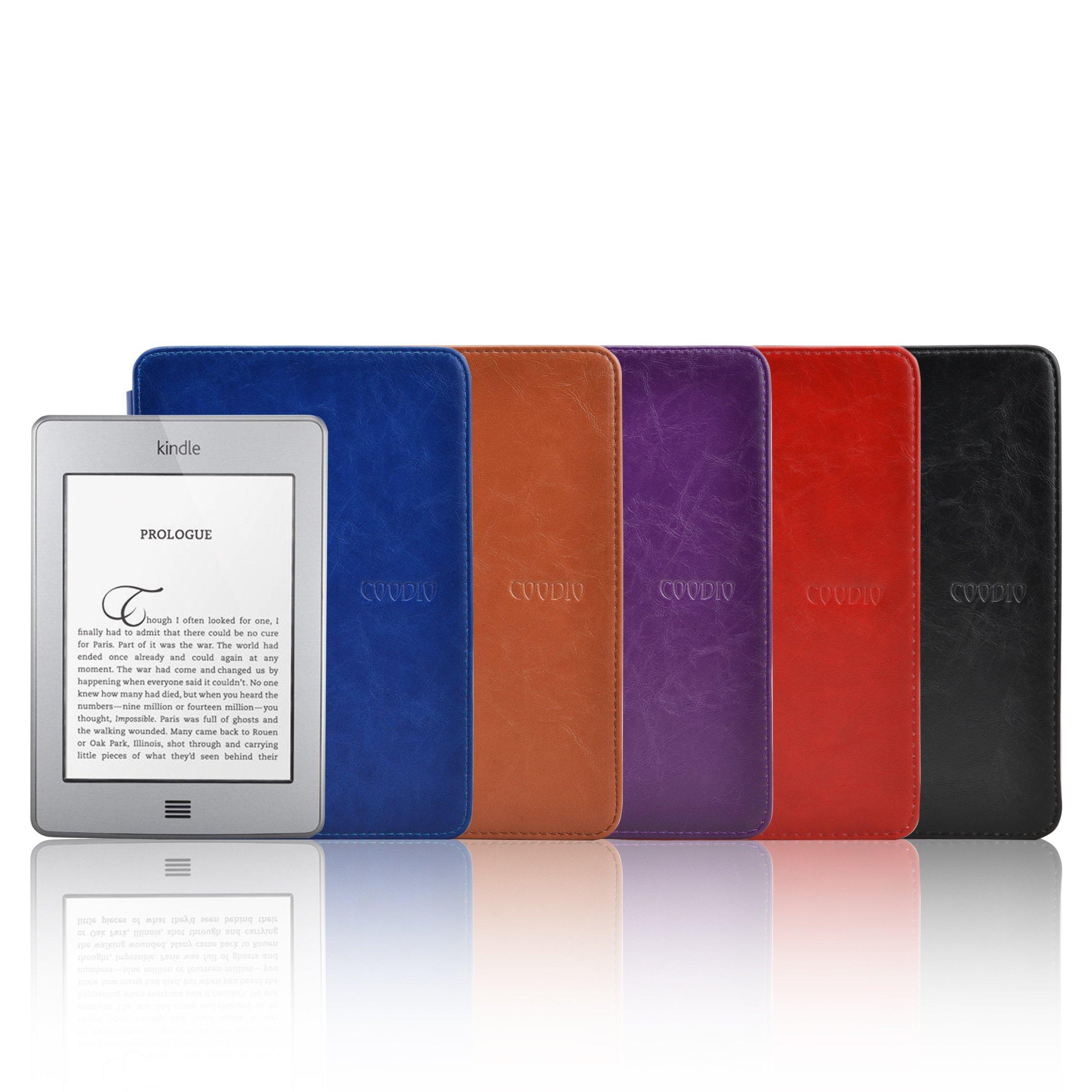 Cuero Funda de Piel CON LUZ Portátil Interior Para Amazon Kindle Touch, Color Marrón: Amazon.es: Electrónica