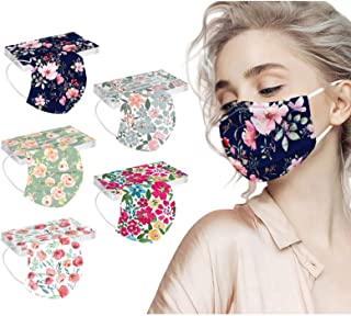 50PC Flower Disposable Face_Masks for Women, 3-Ply Colorful Floral Breathable Face_Mask with Nose Wire for Glasses Wearer...