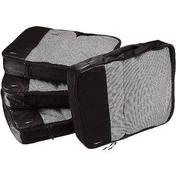 AmazonBasics 4 Piece Packing Travel Organizer Cubes Set - Large, Black