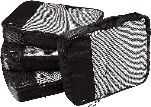 Amazon Basics Lot de 4sacoches de rangement pour bagage TailleL, Noir