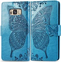 Ropigo Samsung Galaxy S8 Plus Wallet Case | Emboss Butterfly | Magnetic Closure | Kickstand | Wrist Strap | Compatible with Galaxy S8 Plus Sky Blue