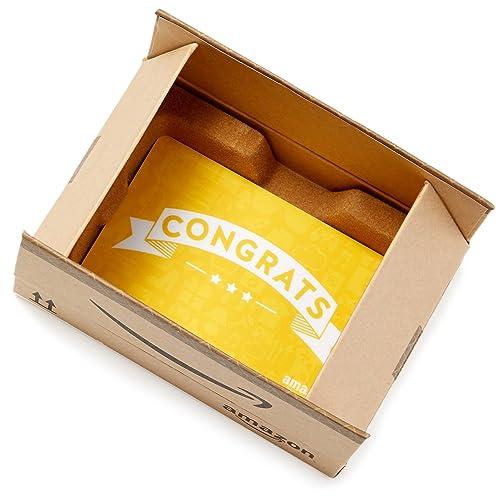 Amazon.com Gift Card in a Mini Amazon Shipping Box (Congrats Icons Card Design)
