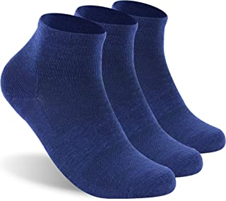 Merino Wool Socks, RTZAT 90% Wool Ultralight Low Cut Cushion Athletic Running Ankle Socks for Men and Women,3 Pairs,Blue,S...