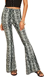 Women's Solid Flare Pants Stretchy Bell Bottom Trousers