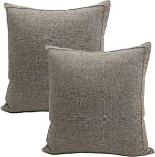 Jepeak Burlap Linen Throw Pillow Covers Cushion Cases, Pack of 2 Farmhouse Modern Decorative Solid Square Thickened Pillow Cases for Sofa Couch (Light Coffee+Beige, 20 x 20 inches)