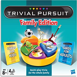 Trivial Pursuit Family Edition - 2 to 6 Players - Kids & Adult Cards - Board Games - Ages 8+