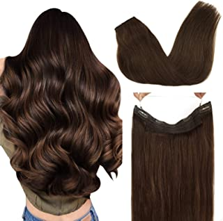 GOO GOO Hair Extensions Human Hair Chocolate Brown 80g Halo Hair Extensions 18 Inch Straight Real Invisible Wire Hair Exte...