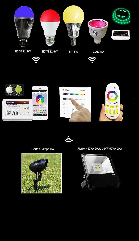 Fdit Milight 12W RGBW WiFi LED Gl/ühbirne E27 RGB CCT Farbwechsel Farbtemperatur ver/änderbare Arbeit mit Mi.Light Remote//Smartphone APP Steuerung /über Mi.Light WiFi iBox