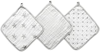 Aden By Aden And Anais Dusty Muslin Washcloth, Grey, White, Pack of 3