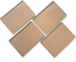 VEEPPO classic vintage mead spiral kraft brown cover and white blank paper sketch notebook.12x18cm, 4pcs/bag, 50 sheets(100pages)/piece