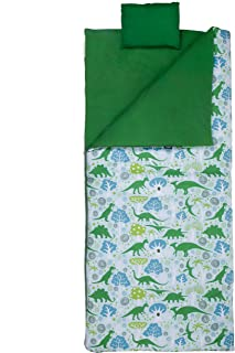 Wildkin Kids Sleeping Bag for Boys and Girls, Includes Pillow and Stuff Sack, Perfect Size for Slumber Parties, Camping, and Overnight Travel, Patterns Coordinate with Our Nap Mats and Lunch Boxes