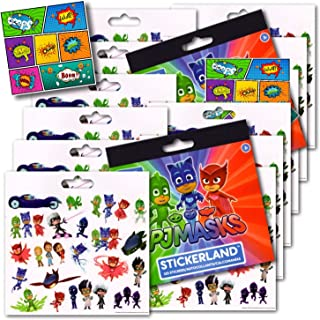 PJ Masks Stickers Party Favors - Bundle of 12 Sheets plus 2 Jumbo Specialty Comic Pop Art Reward Stickers