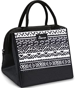Insulated Lunch Bag, SIMTOP Cooler Tote Bag for Women/Men/Kids/Students, Cute Design, Leakproof, Easy Clean, Roomy Space Fit for Lunch Container Box, Utensils, Snacks, Drinks, Fruits, Wide-Open