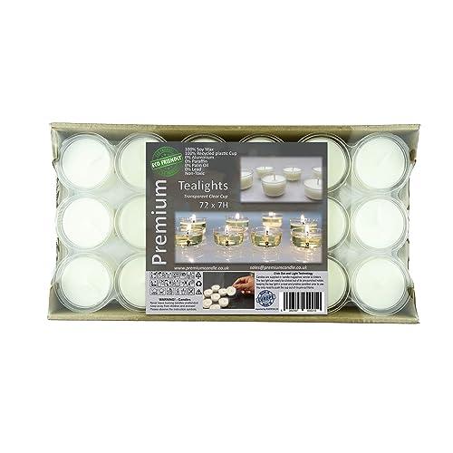 Premium 7 à 8 heures de temps de combustion longue paquet de 72 en transparentes tasse lumières respectueux de l'environnement Bougies chauffe-plat Non parfumées lumières de la nuit Bougies de grande qualité Blanc Cire de Soja