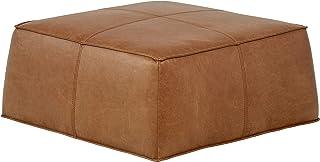 Amazon Brand – Rivet Contemporary Leather Ottoman Pouf, 36W, Cognac