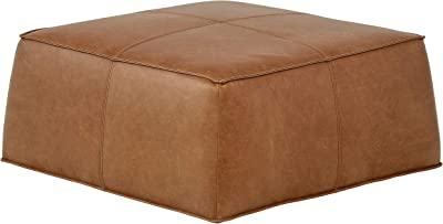 "Amazon Brand – Rivet Contemporary Leather Ottoman Pouf (36""W) - Cognac Leather"