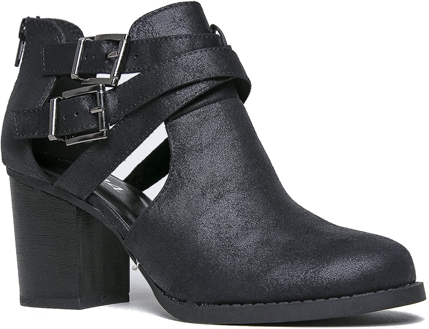 SODA Women's Scribe Buckle Ankle Zip Back Bootie