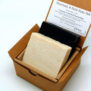 Detox Soap Set (2 Full Size Bars) - Activated Charcoal, Himalayan Salt - Natural Detoxifying FACE and BODY - Great for ACNE, ECZEMA, PSORIASIS, RASH - Handmade with All Natural/Organic Ingredients