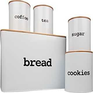 Bread Box (Extra Large) and 4 Piece Kitchen Canister Set w Bread Cutting Board- Deluxe Food Storage Containers with Air Tight Bamboo Lids