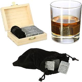 Relaxdays 威士忌石 冰*石 滑石 冰块 可重复使用 礼品盒装 高×宽×深: 3.5×10×8 厘米 煤黑色